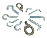 Hooks and eye bolts for holding magnets